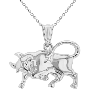 High Polish 14k White Gold 3D Taurus Zodiac Sign Bull Animal Pendant Necklace
