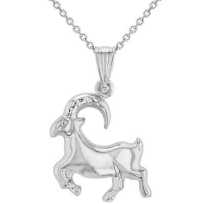 High Polish 14k White Gold 3D Capricorn Zodiac Sign Charm Sea-Goat Animal Pendant Necklace