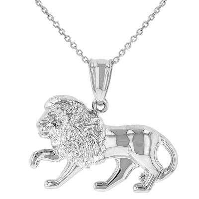 High Polish 14k White Gold 3D Leo Zodiac Sign Charm Lion Animal Pendant Necklace