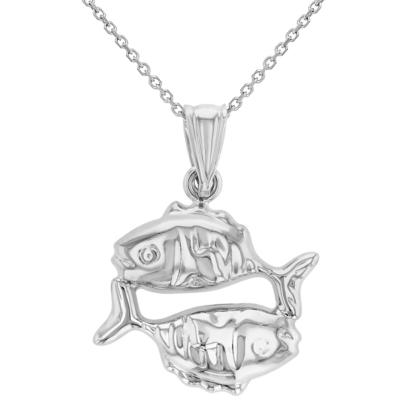 High Polish 14k White Gold 3D Pisces Zodiac Sign Charm Fish Animal Pendant Necklace