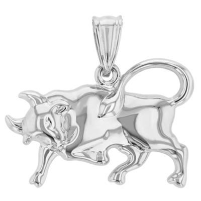 High Polish 14k White Gold 3D Taurus Zodiac Sign Bull Animal Pendant