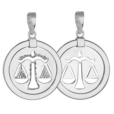 14k White Gold Round Libra Zodiac Sign Scale Medallion Pendant (Reversible)