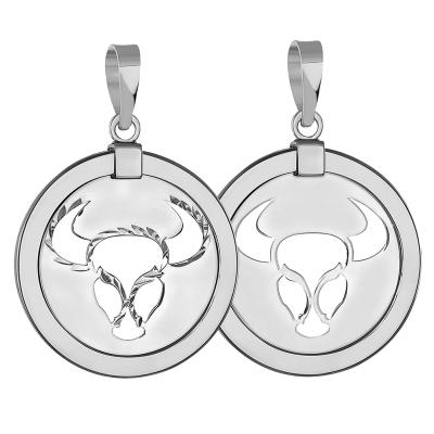 14k White Gold Round Taurus Zodiac Sign Bull Animal Medallion Pendant (Reversible)