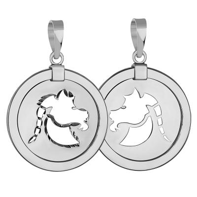14k White Gold Round Capricorn Zodiac Sign Sea-Goat Animal Medallion Pendant (Reversible)