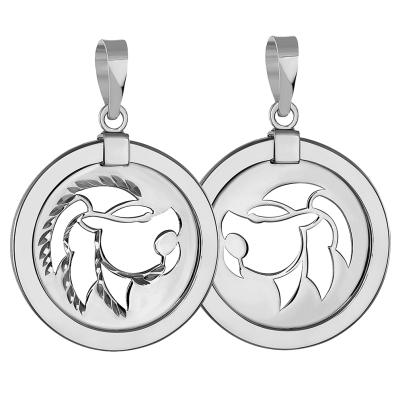 14k White Gold Round Leo Zodiac Sign Lion Animal Medallion Pendant (Reversible)