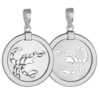 14k White Gold Round Scorpion Scorpio Zodiac Sign Medallion Pendant (Reversible)
