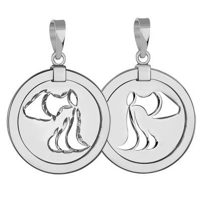 14k White Gold Round Aquarius Zodiac Sign Medallion Pendant (Reversible)