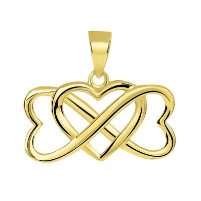 14k Yellow Gold Interlocking Triple Heart Infinity Love Symbol Pendant