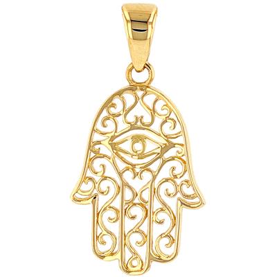 Solid 14K Yellow Gold Filigree Hamsa Hand of Fatima with Evil Eye Charm Pendant