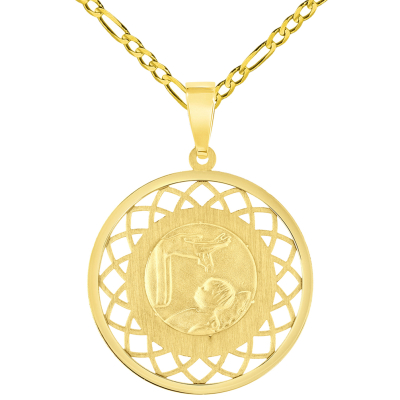 14k Yellow Gold Religious Baptism Christening On Round Open Ornate Medal Pendant with Figaro Chain Necklace