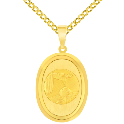 14k Yellow Gold Religious Baptism Christening Oval Medal Pendant with Cuban Chain Curb Necklace