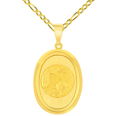 14k Yellow Gold Religious Baptism Christening Oval Medal Pendant with Figaro Chain Necklace