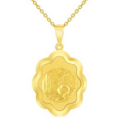 14k Yellow Gold Religious Baptism Christening On Elegant Medal Pendant Necklace