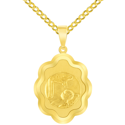 14k Yellow Gold Religious Baptism Christening On Elegant Medal Pendant with Cuban Chain Curb Necklace