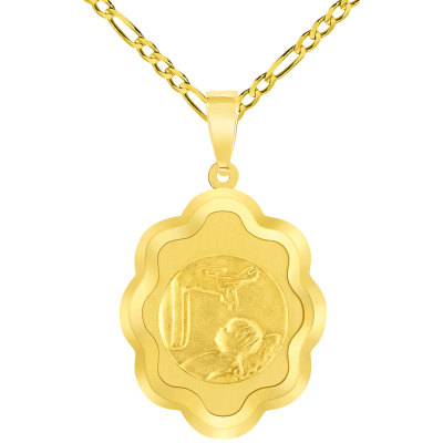 14k Yellow Gold Religious Baptism Christening On Elegant Medal Pendant with Figaro Chain Necklace