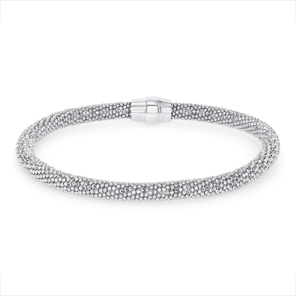 Sterling Silver Wide Mesh Magnet Closing Bracelet