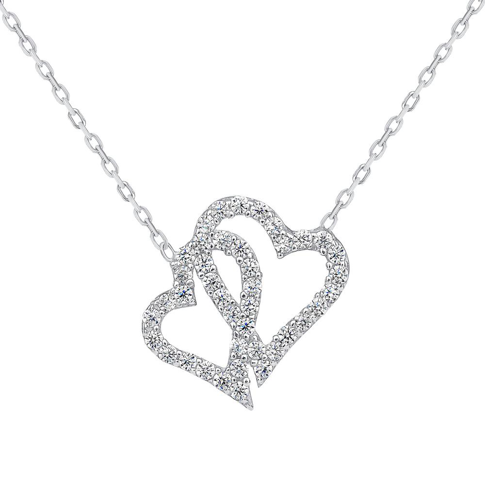 925 Sterling Silver 2 Heart Pendant