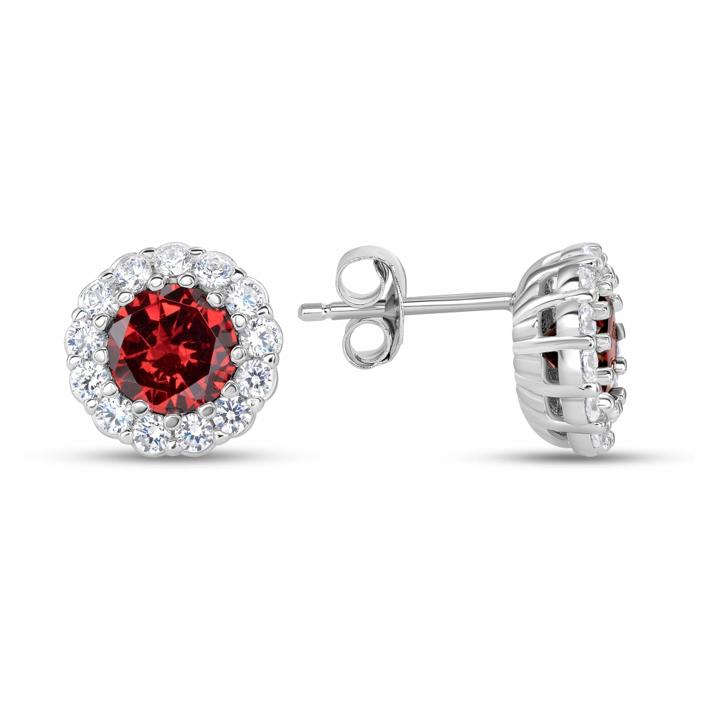 Sterling Silver Halo Style Stud with Center Stone