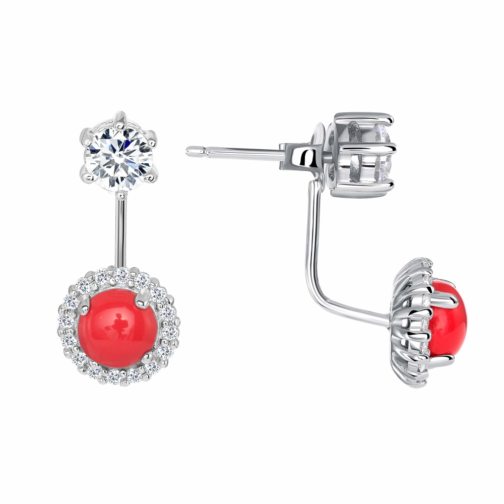 925 Sterling Silver Round Coral Earring