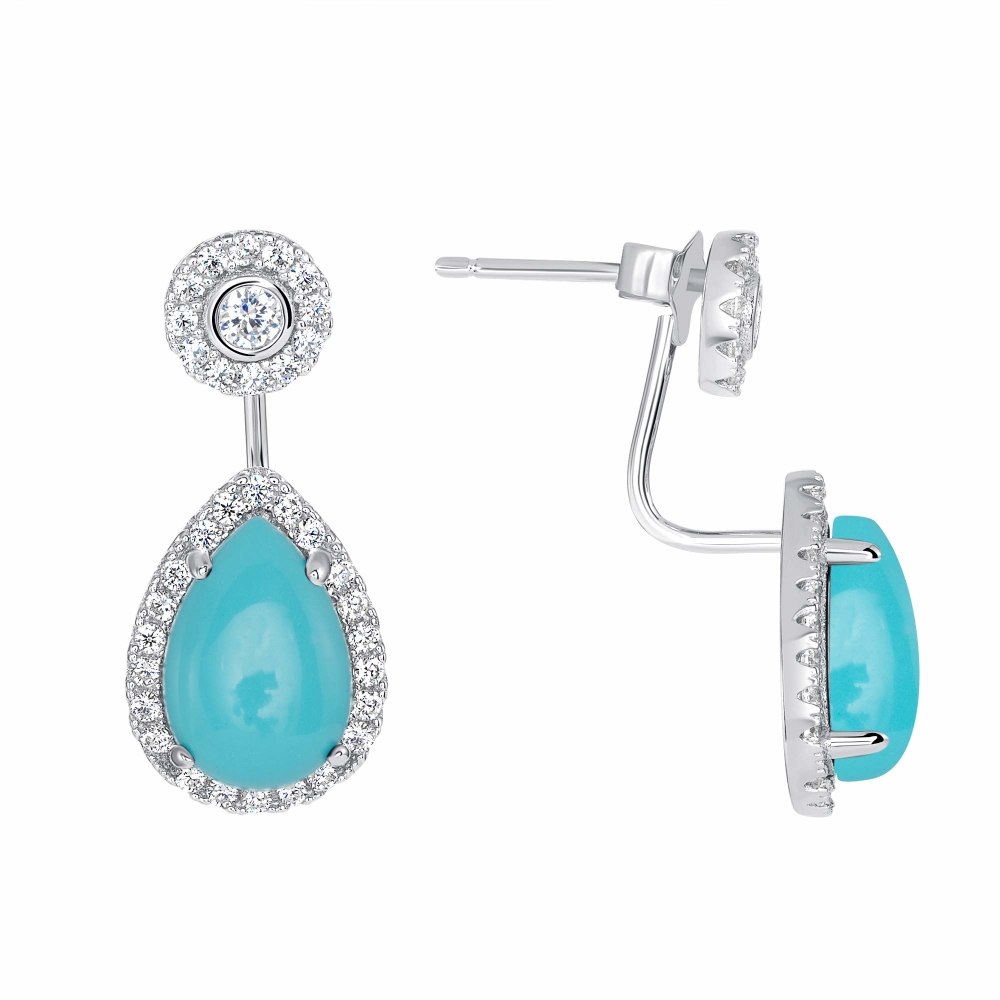 925 Sterling Silver Oval Bell Turquoise Earrings