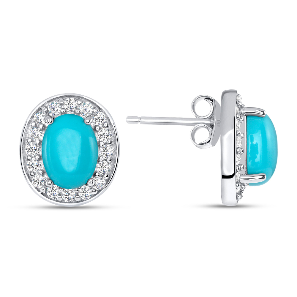925 Sterling Silver Turquoise Stud Earring