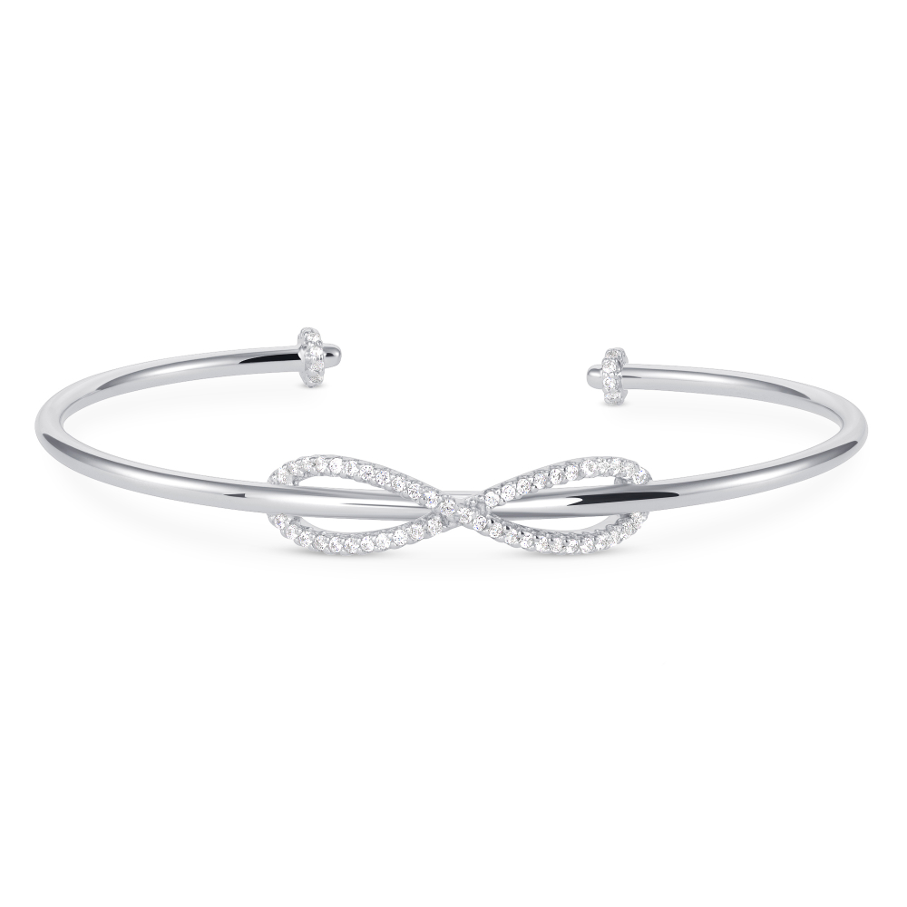 925 Sterling Silver Infinity Cuff Bangle