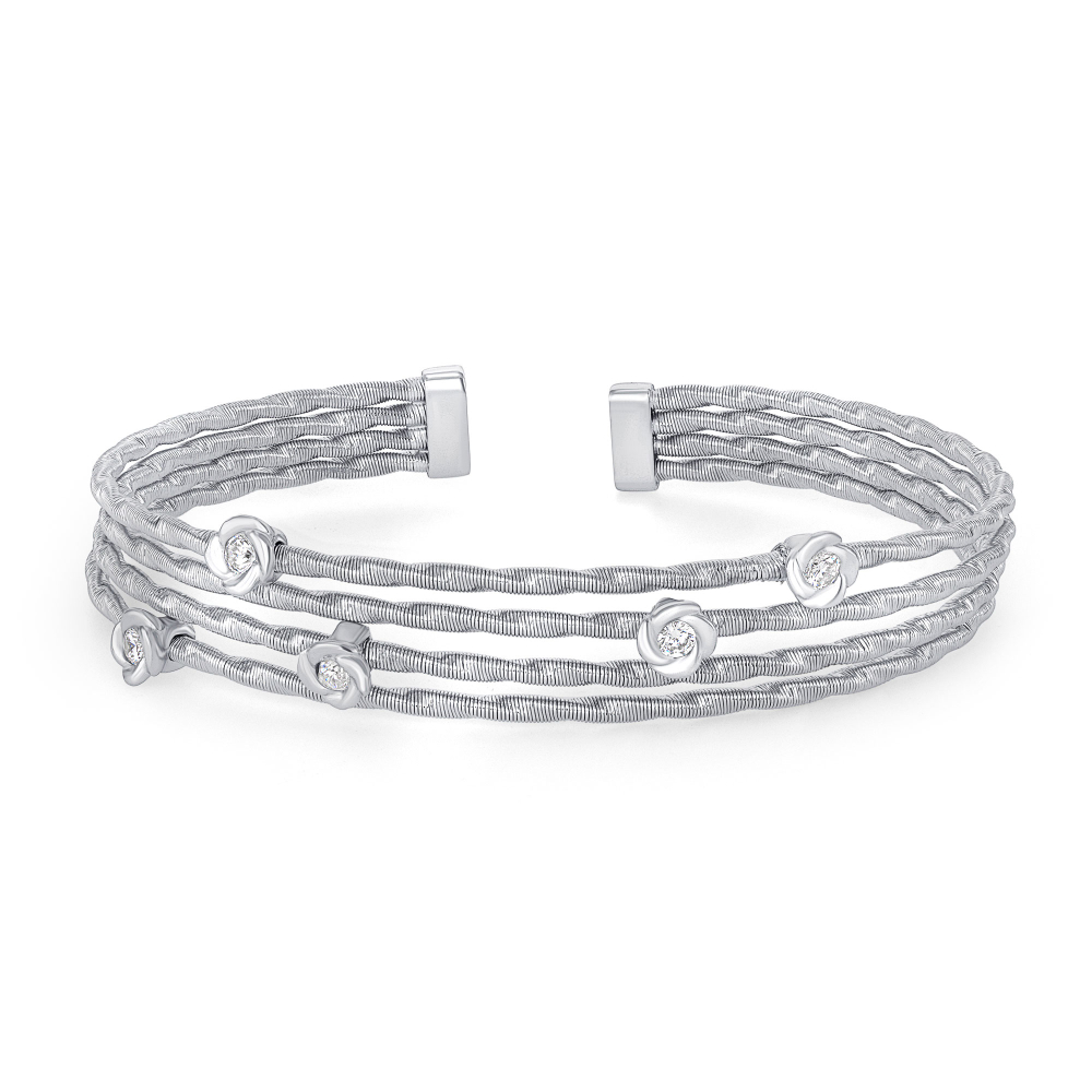Sterling Silver 4 Row Twist Cuff Bangle