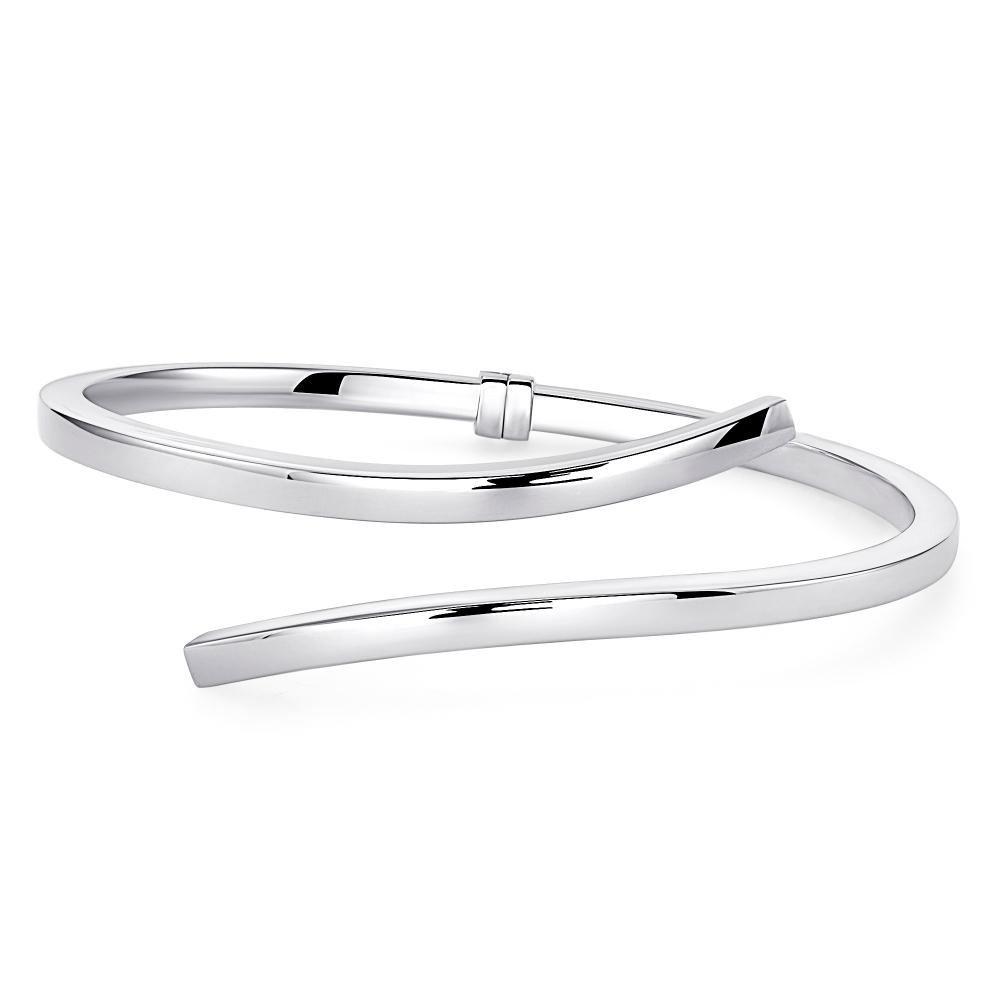 Sterling Silver Endless Curve Plain Cuff Bracelet