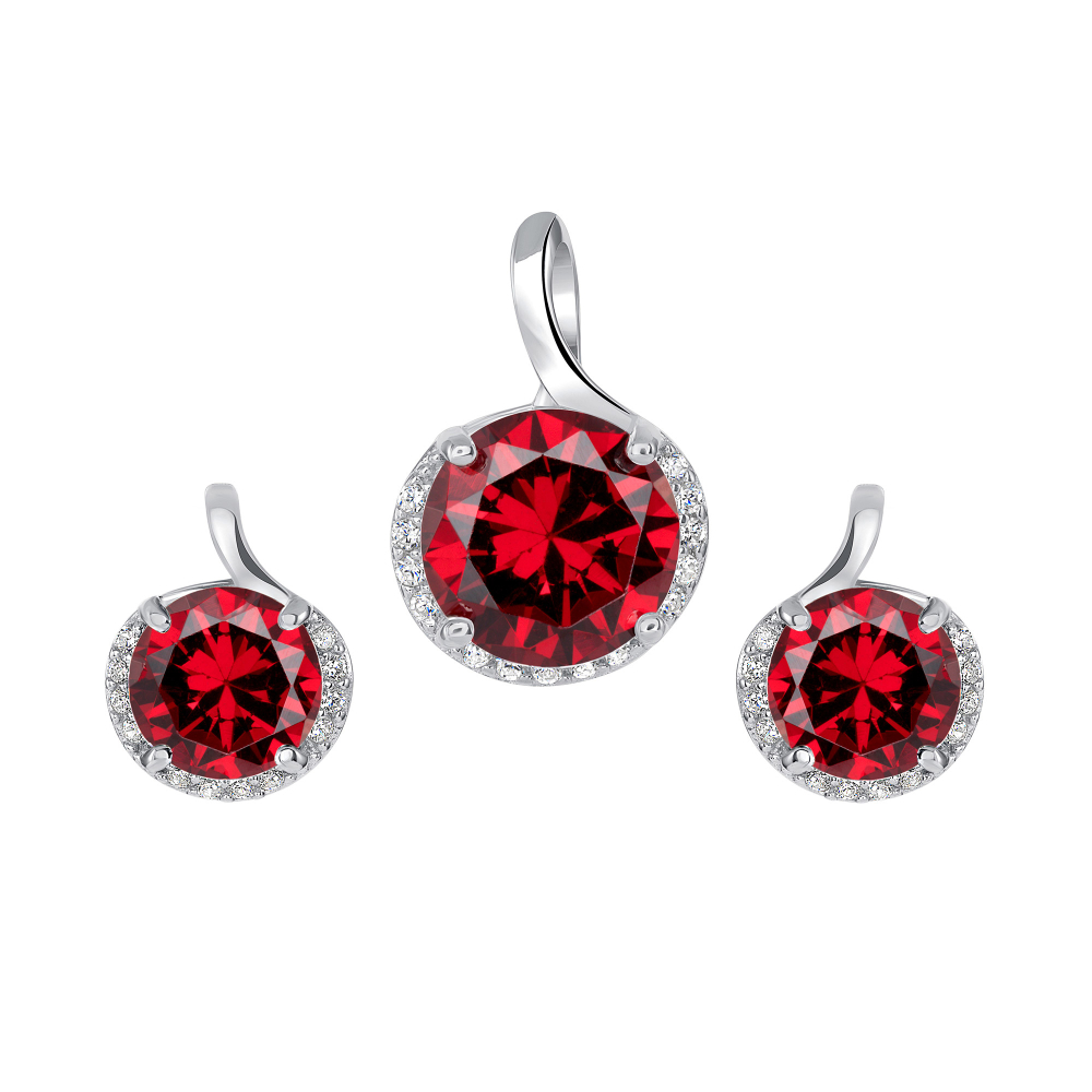 Sterling Silver Round Ruby Set