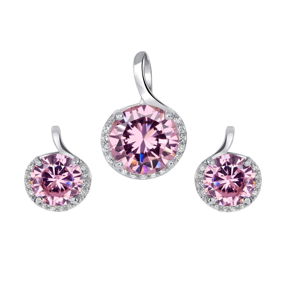 Sterling Silver Round Pink Set