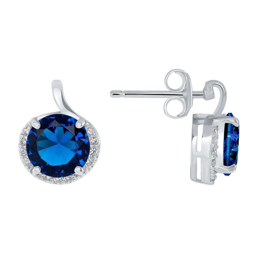 Sterling Silver Round Sapphire Stone Earring