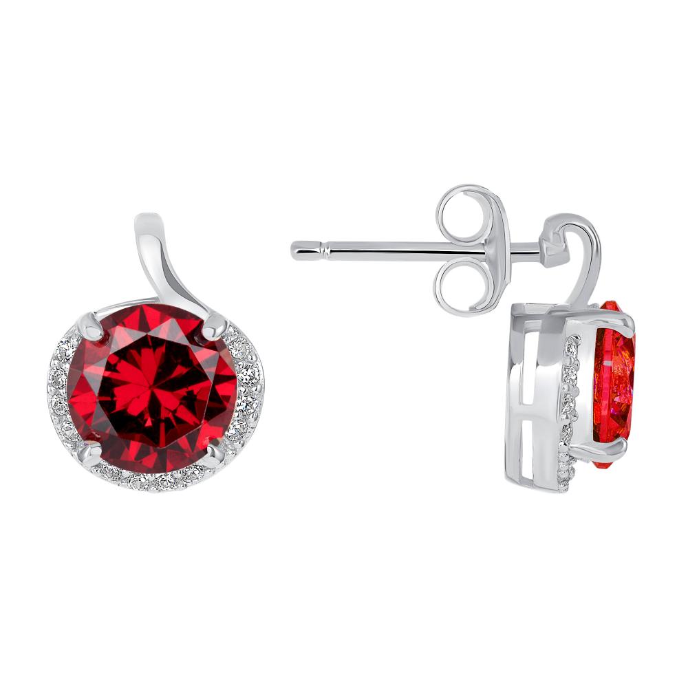 Sterling Silver Round Garnet Stone Earring