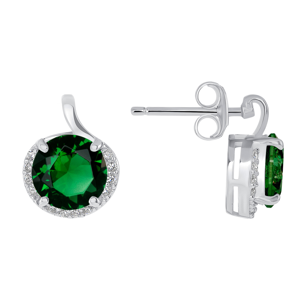Sterling Silver Round Emerald Stone Earring