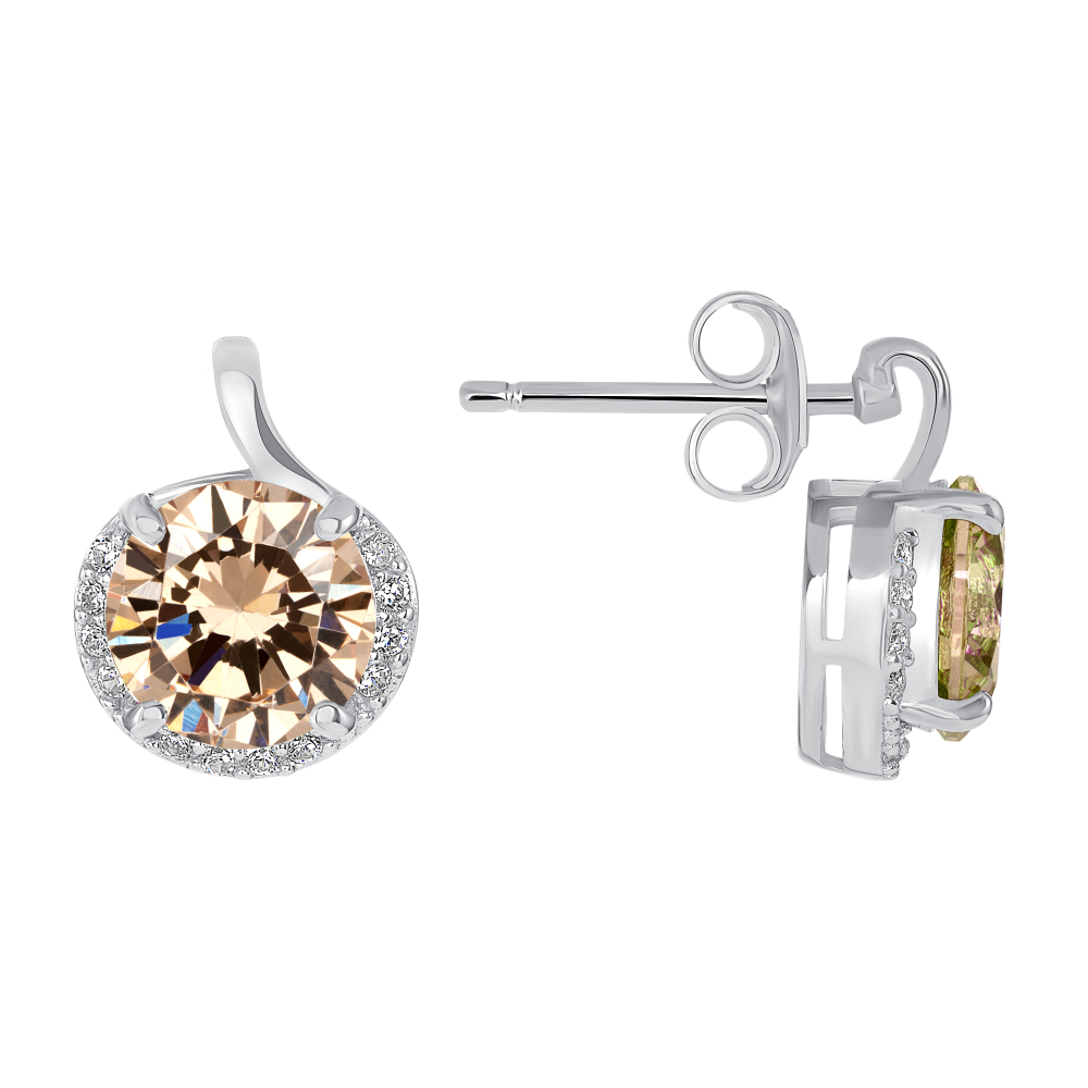 Sterling Silver Round Champagne Stone Earring