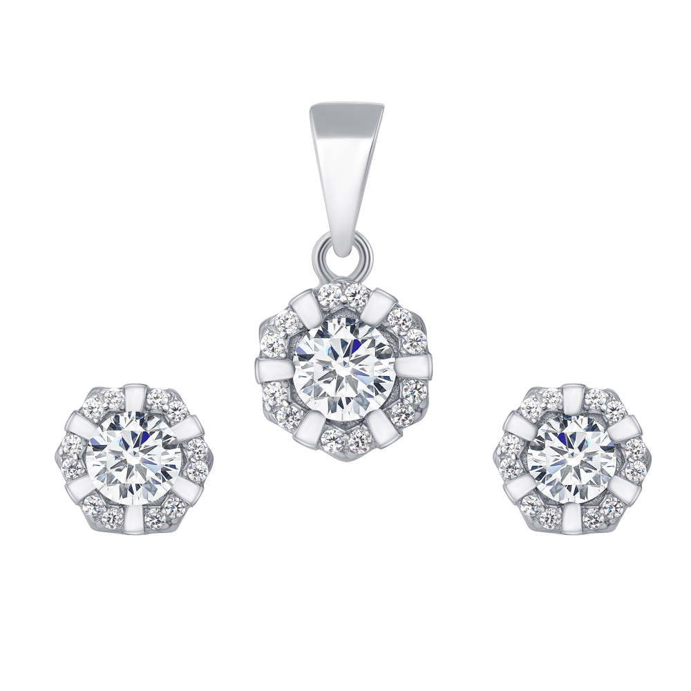 Sterling Silver Flower Cz Set