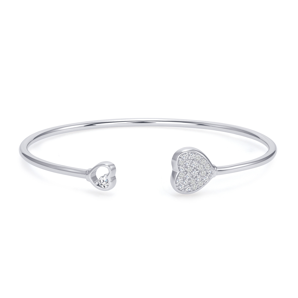 Sterling Silver 2 Heart Endless Cuff Bangle