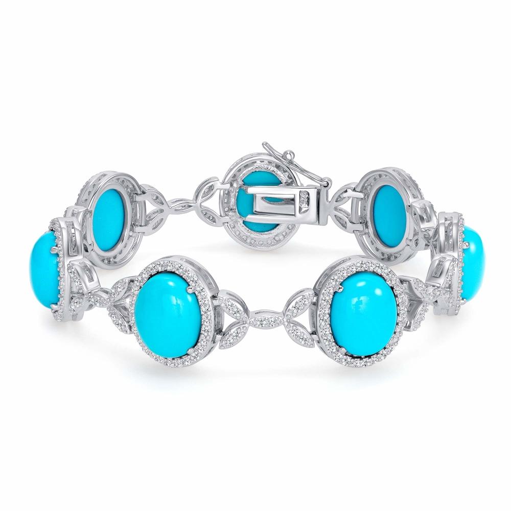 Sterling Silver Lab Torquise Fancy Cz X Bracelet