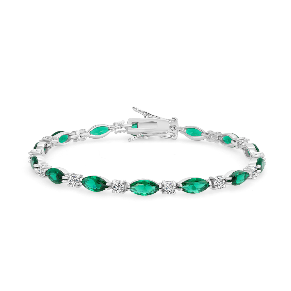 Sterling Silver Marquise Style Tennis Bracelet