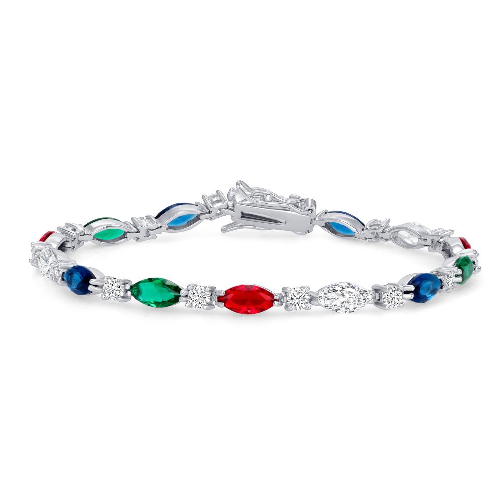 Sterling Silver Rainbow Color Tennis Bracelet