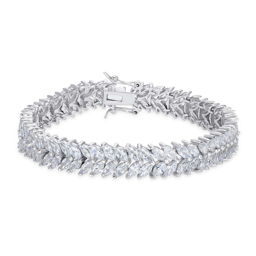 2 Row Marquise Tennis Bracelet Clear Cz