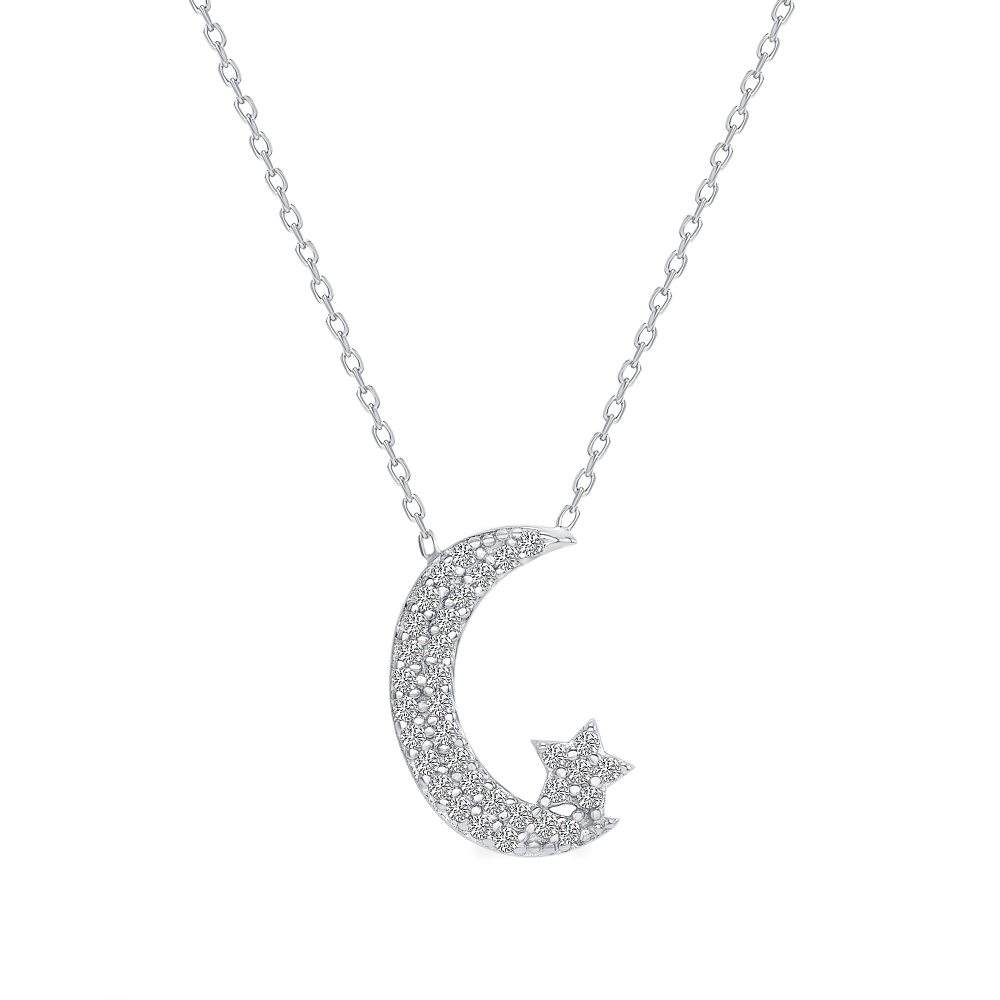 Sterling Silver Micro Pave Moon & Star Pendant