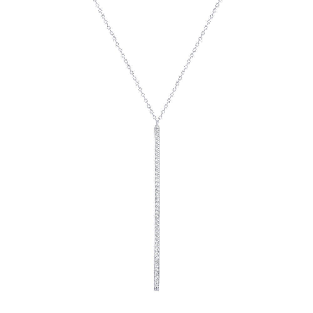 Sterling Silver Long Cz Bar Drop