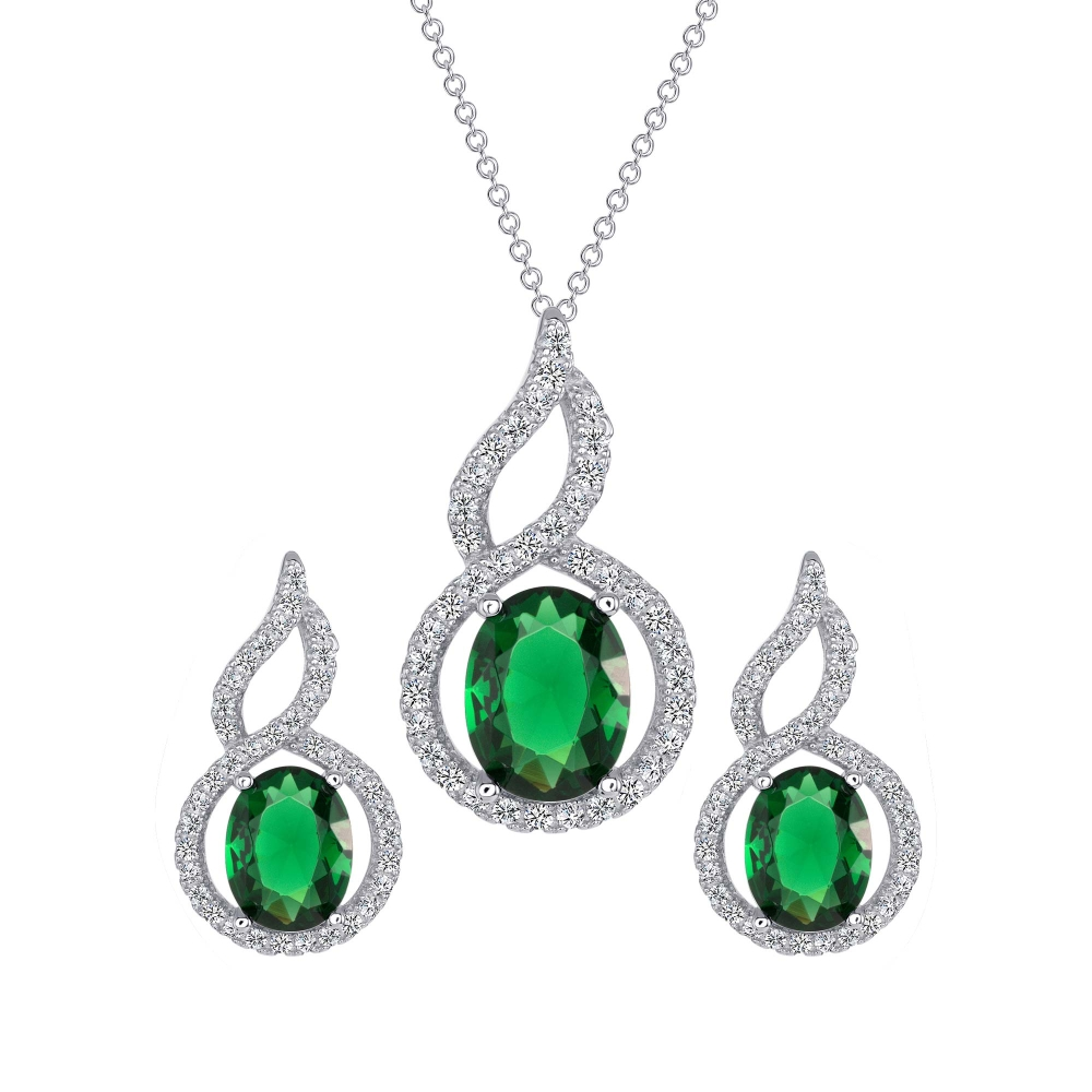 Sterling Silver Drop Oval Cz Set
