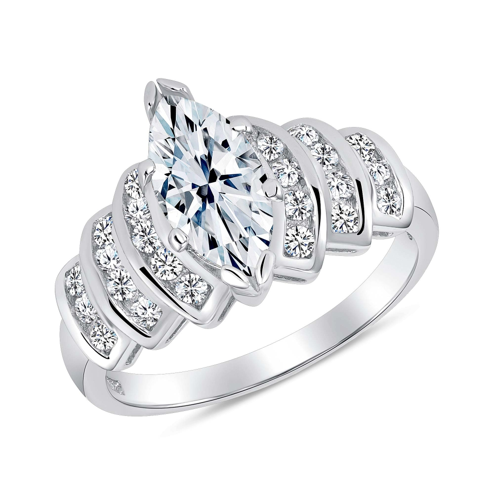 Sterling Silver 3 Row Marquise Steps Ring