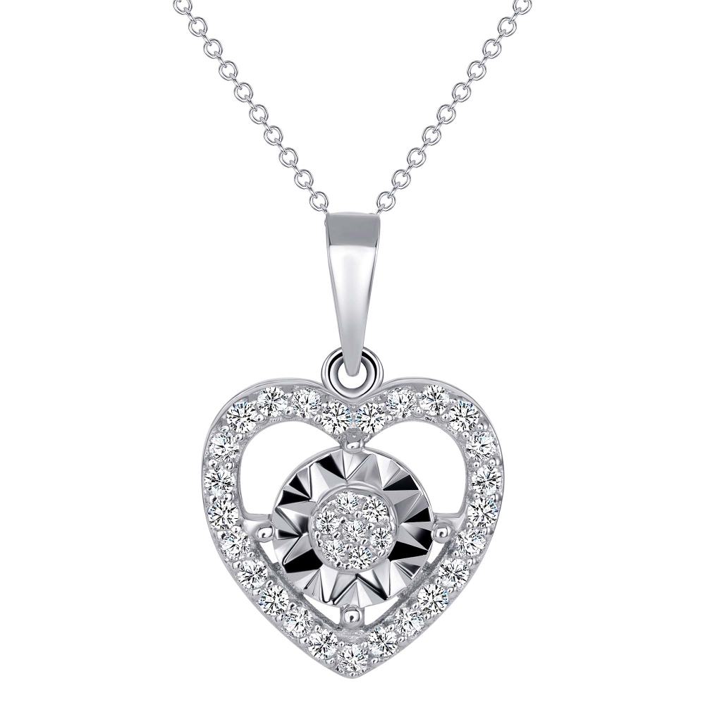 Sterling Silver Heart With Round Center Pendant