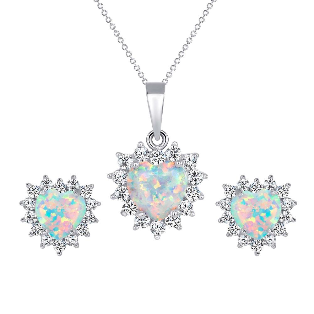 Sterling Silver Opal Heart Set