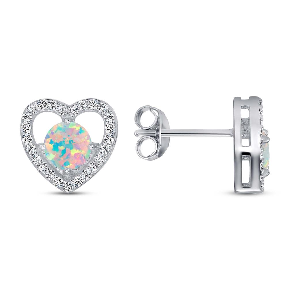 Sterling Silver Heart & Stud Earring Opal