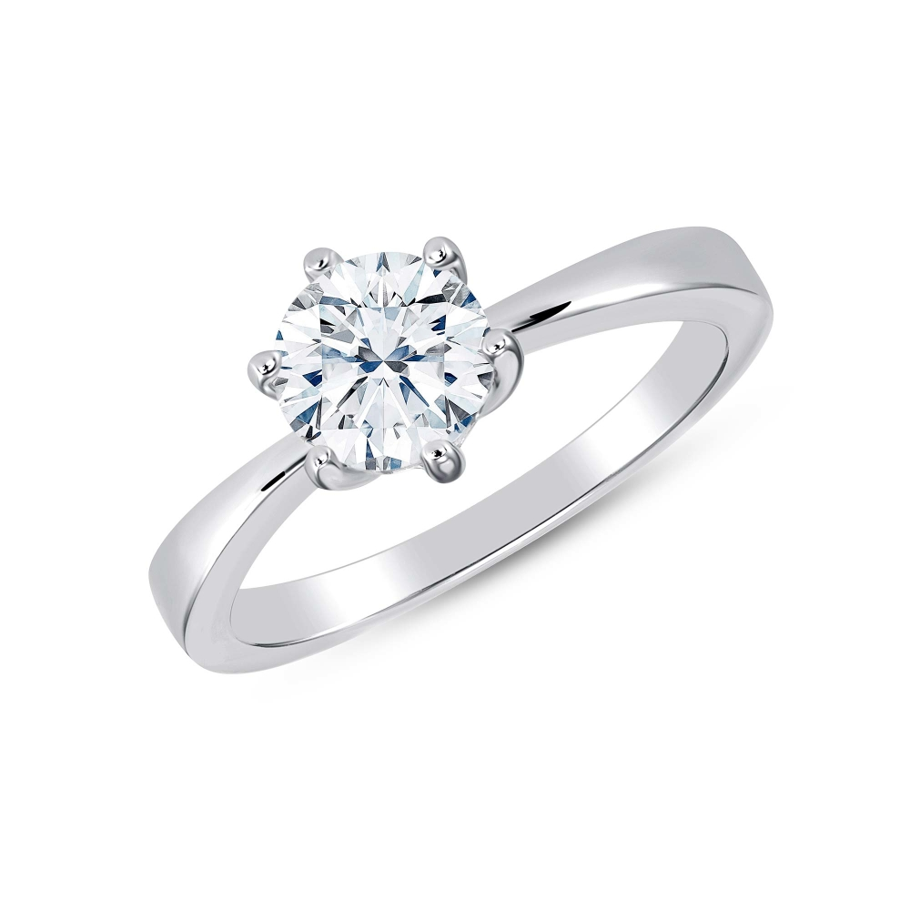 Sterling Silver Plain Single Solitaire Ring