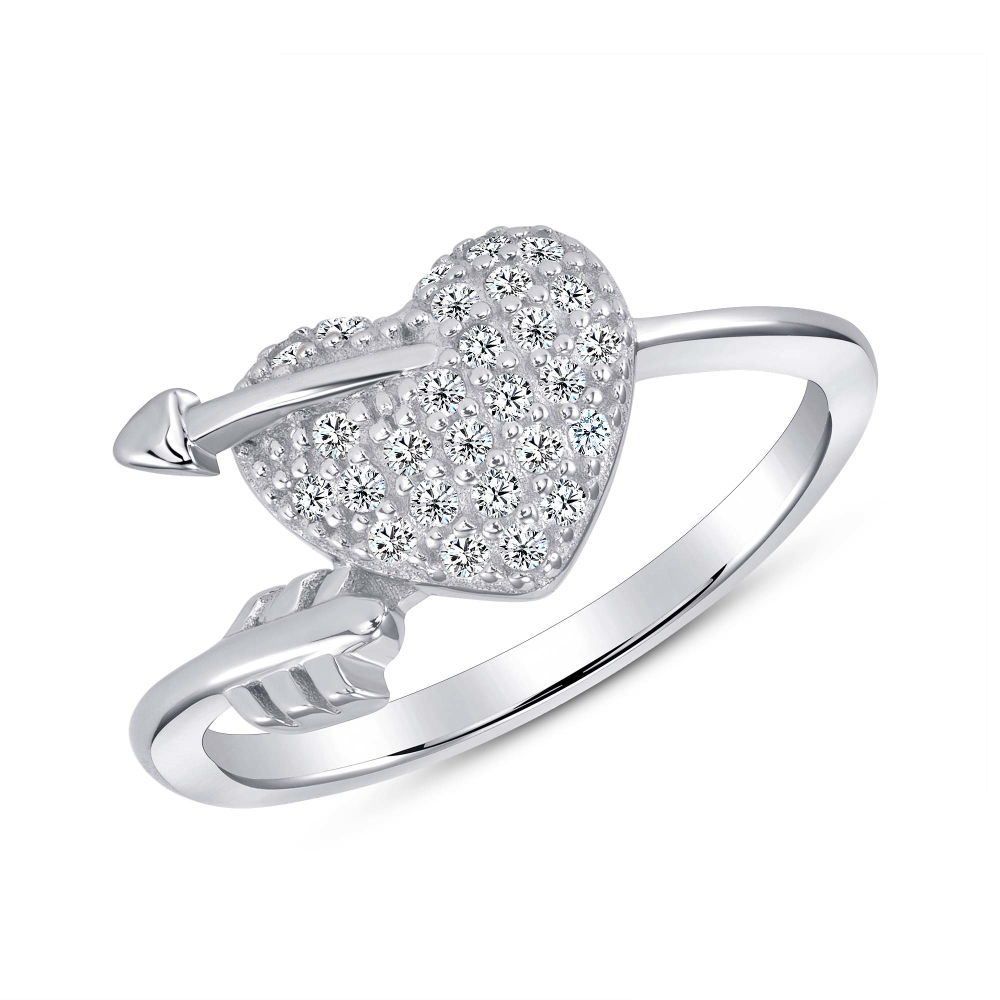 Sterling Silver Full Cz Arrow Heart Endless Ring