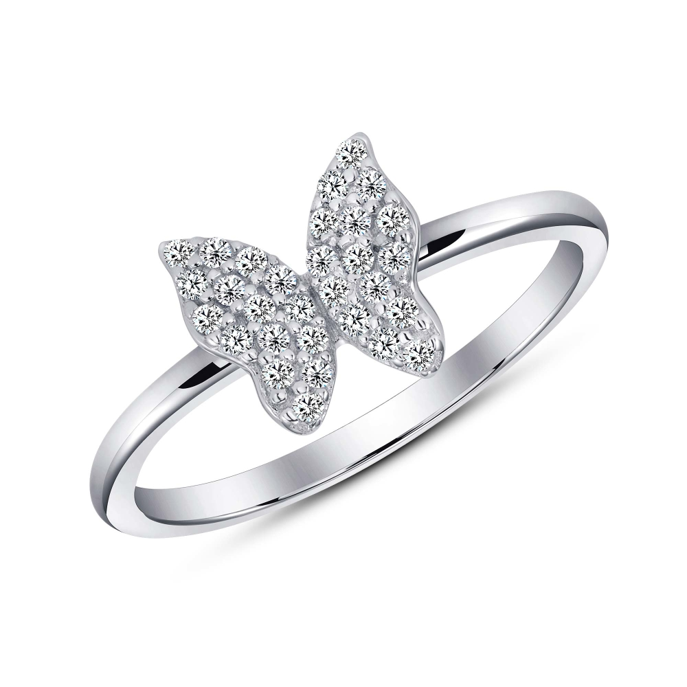Sterling Silver Full Cz Butterfly Dainty Ring